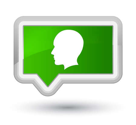 prime: Head men face icon isolated on prime green banner button abstract illustration Stock Photo