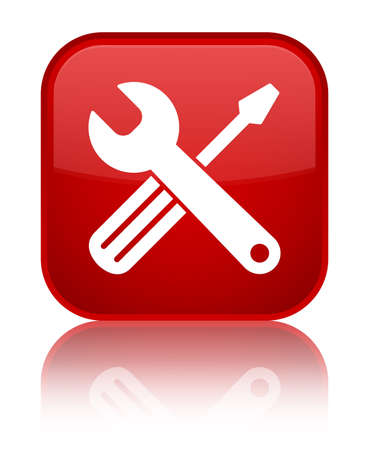 Tools icon isolated on special red square button reflected abstract illustration Stock Photo