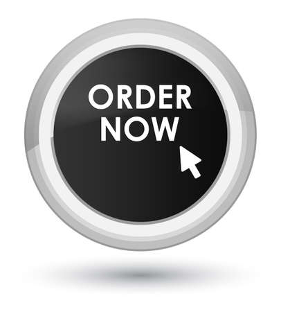Order now isolated on prime black round button abstract illustration