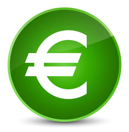 Euro sign icon isolated on elegant green round button abstract illustration