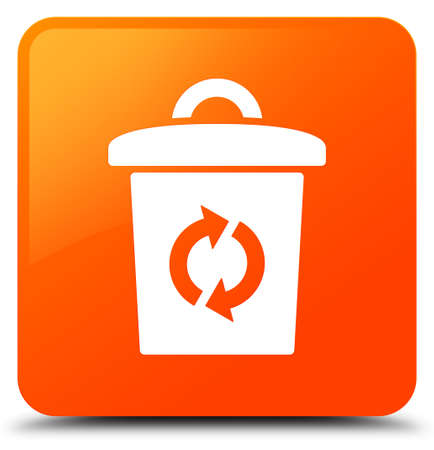 Trash icon isolated on orange square button abstract illustration