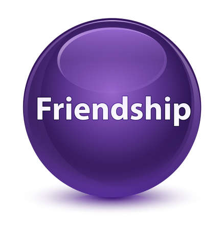 Friendship isolated on glassy purple round button abstract illustration