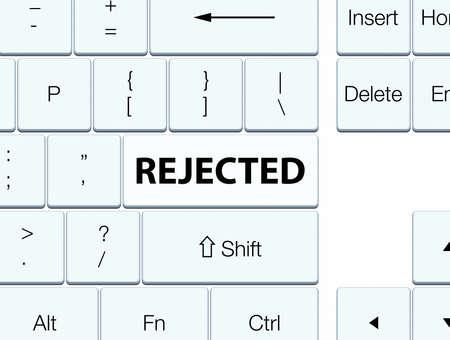 白のキーボードボタンの抽象的なイラストで孤立を拒否