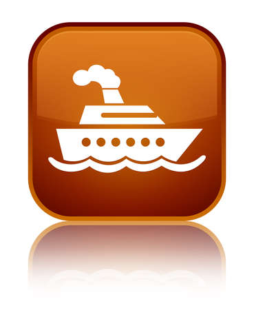 Cruise ship icon isolated on special brown square button reflected abstract illustration Stock Photo