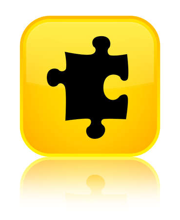 Puzzle icon isolated on special yellow square button reflected abstract illustration Stock Photo