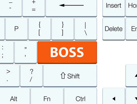 Boss isolated on orange keyboard button abstract illustration Imagens