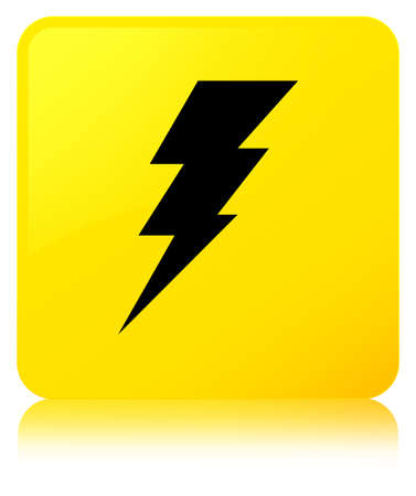 Electricity icon isolated on yellow square button reflected abstract illustration