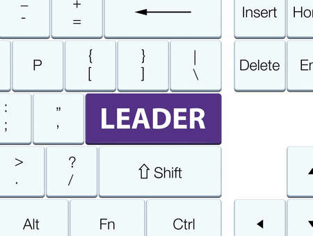 Leader isolated on purple keyboard button abstract illustration