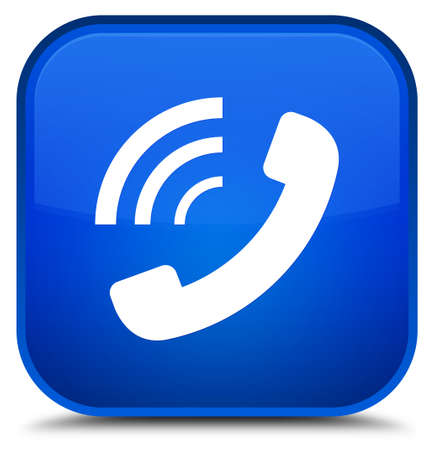 Phone ringing icon isolated on special blue square button abstract illustration Stock Photo