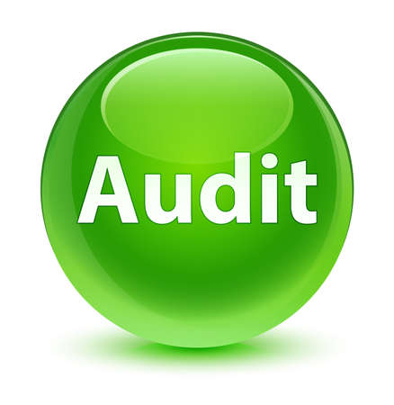 Audit isolated on glassy green round button abstract illustration Stock Photo