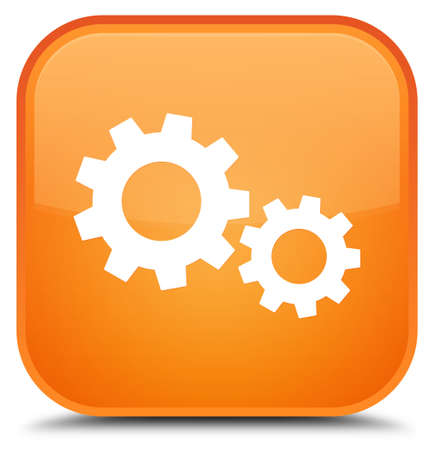 Process icon isolated on special orange square button abstract illustration