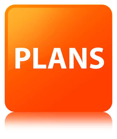 aim: Plans isolated on orange square button reflected abstract illustration
