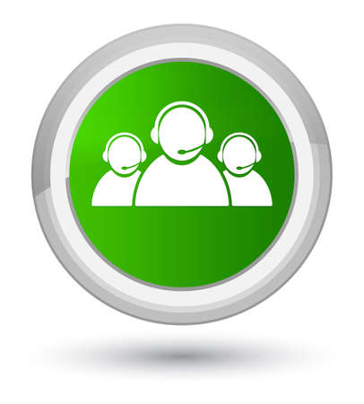 Customer care team icon isolated on prime green round button abstract illustration