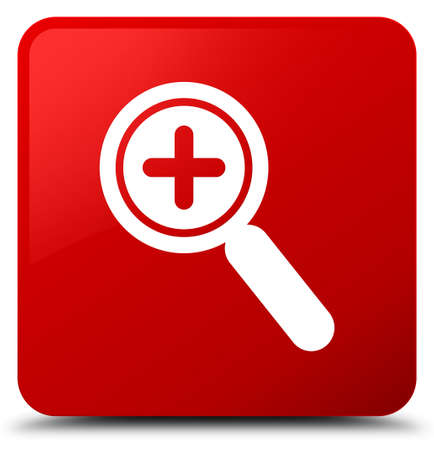 Zoom in icon isolated on red square button abstract illustration