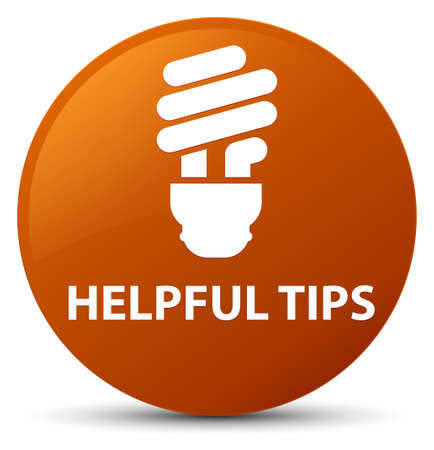 Helpful tips (bulb icon) isolated on brown round button abstract illustration