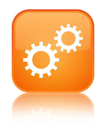 Process icon isolated on special orange square button reflected abstract illustration
