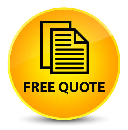Free quote isolated on elegant yellow round button abstract illustration Stock Photo
