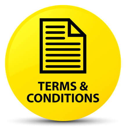 Terms and conditions (page icon) isolated on yellow round button abstract illustration