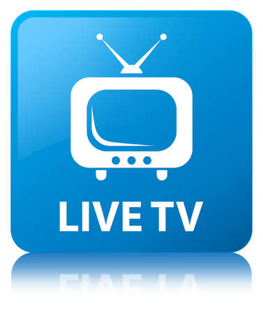 Live tv isolated on cyan blue square button reflected abstract illustration