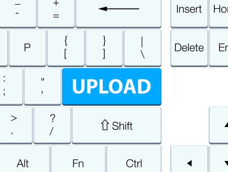 Upload isolated on cyan blue keyboard button abstract illustration Stock Photo