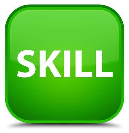Skill isolated on special green square button abstract illustration
