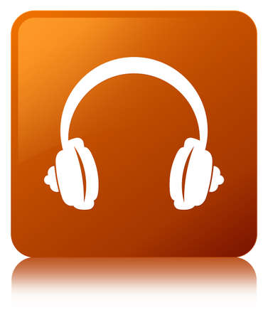 Headphone icon isolated on brown square button reflected abstract illustration