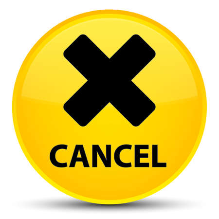 Cancel isolated on special yellow round button abstract illustration