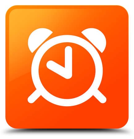 Alarm clock icon isolated on orange square button abstract illustration