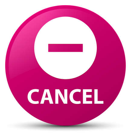 Cancel isolated on pink round button abstract illustration
