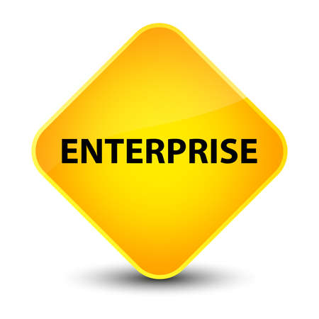 Enterprise isolated on elegant yellow diamond button abstract illustration