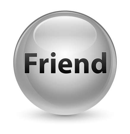 Friend isolated on glassy white round button abstract illustration Reklamní fotografie