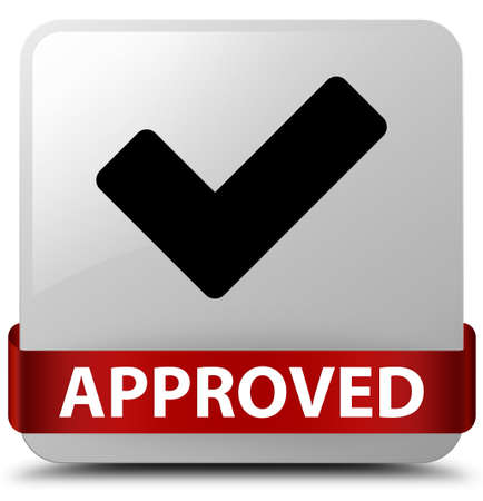 Approved (validate icon) isolated on white square button with red ribbon in middle abstract illustration Stock Photo