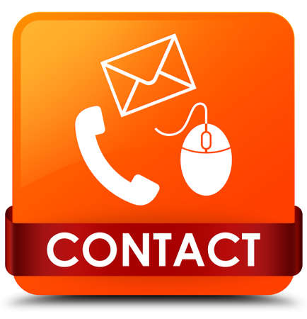 Contact (phone email and mouse icon) orange isolated on square button with red ribbon in middle abstract illustration