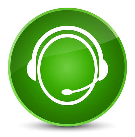 Customer care service icon isolated on elegant green round button abstract illustration