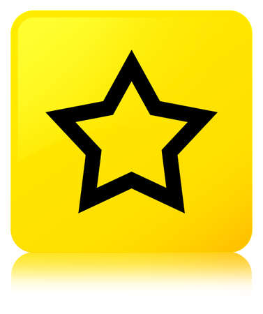 Star icon isolated on yellow square button reflected abstract illustration
