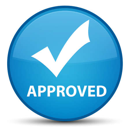 Approved (validate icon) isolated on special cyan blue round button abstract illustration Stock Photo