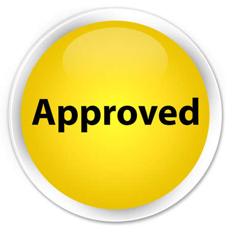 Approved isolated on premium yellow round button abstract illustration
