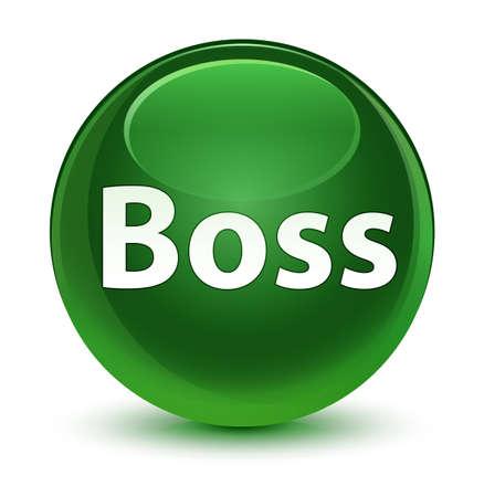 ガラス状の柔らかい緑の丸いボタンの抽象的なイラストに孤立したボス