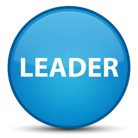 Leader isolated on special cyan blue round button abstract illustration