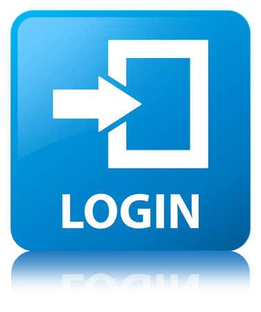 Connexion isolé sur cyan bouton carré bleu reflète illustration abstraite Banque d'images - 88640004