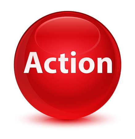 Action isolated on glassy red round button abstract illustration