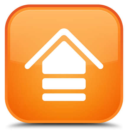 Upload icon isolated on special orange square button abstract illustration