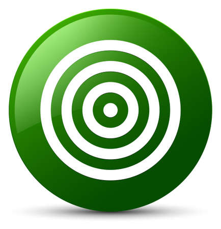 Target icon isolated on green round button abstract illustration Stock Photo