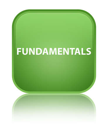 Fundamentals isolated on special soft green square button reflected abstract illustration