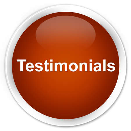 Testimonials isolated on premium brown round button abstract illustration