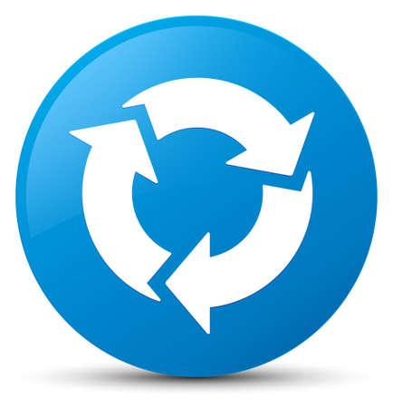 Erneuern Sie die Ikone, die auf cyan-blauer runder Knopfzusammenfassungsillustration lokalisiert wird
