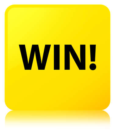 Win isolated on yellow square button reflected abstract illustration