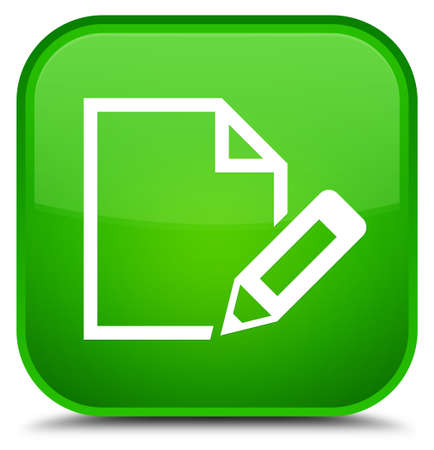 Edit document icon isolated on special green square button abstract illustration