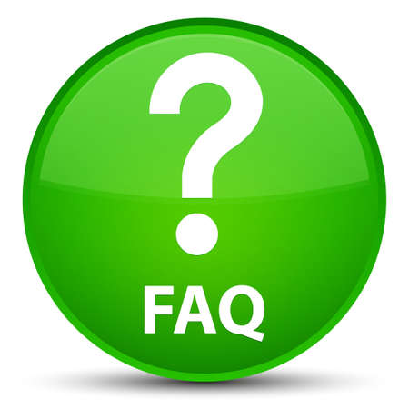 Faq (question icon) isolated on special green round button abstract illustration