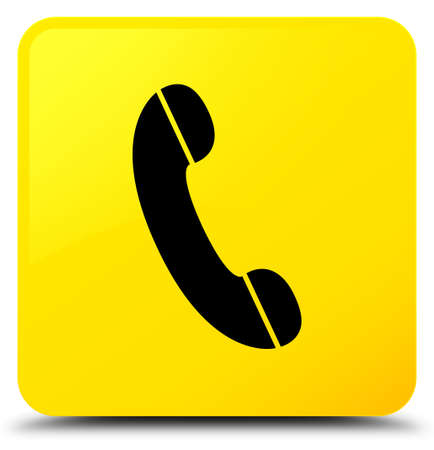 Phone icon isolated on yellow square button abstract illustration Stock Photo